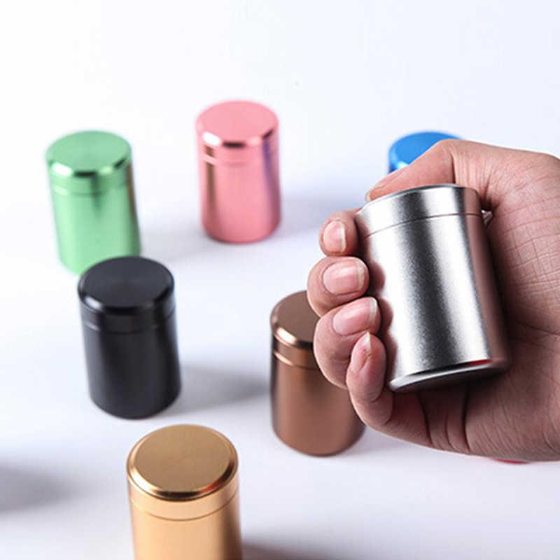 حاوية الشاي العلبة محكم الرائحة حاوية خبأ جرة معدنية الألومنيوم المحمولة علب صغيرة مختومة السفر