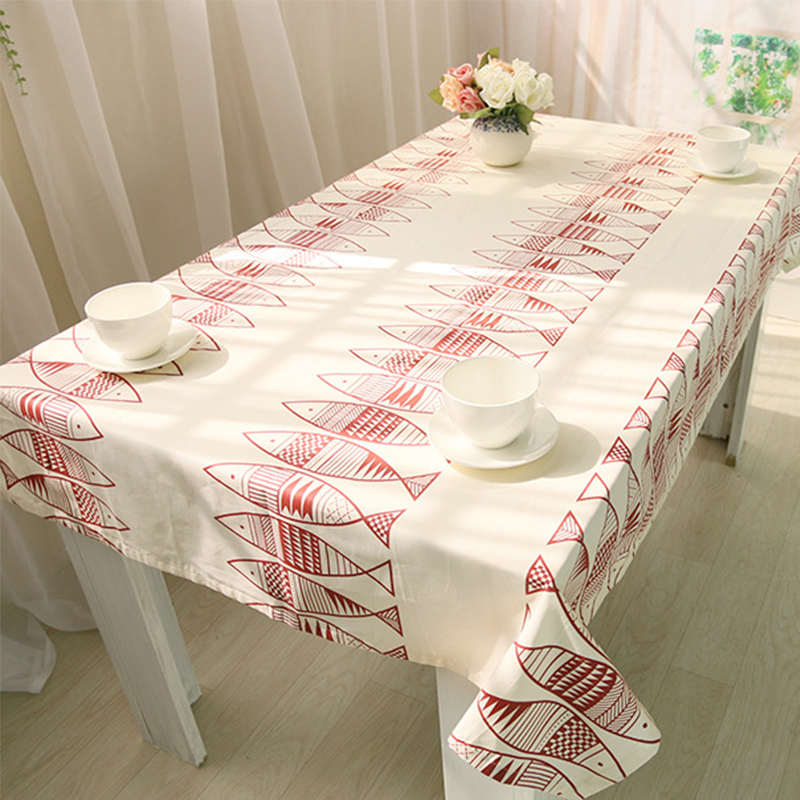 Tablecloths White Table Cloth Cotton Covers Simple Fish