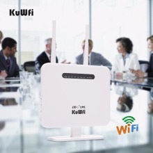 KuWFi Unlocked 300Mbps 4G LTE CPE Wifi Router With LAN Port SIM Card Slot For USA/CA/Mexico/Jamaica/Argentina/Chile/Colombia