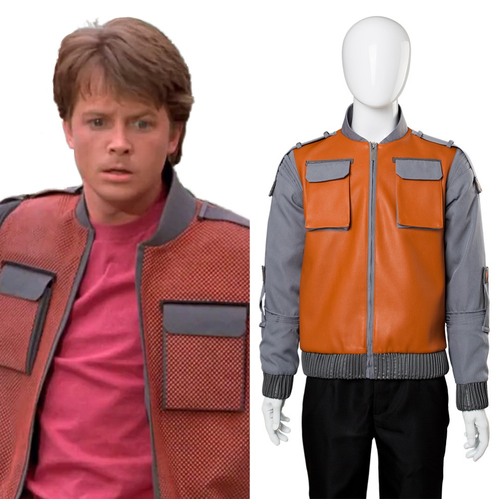 Back to the Future Cosplay Costume Adult Men Marty McFly Jr.Jacket Cosplay Costume Coat Halloween Carnival Costume