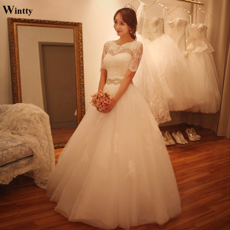 Wintty Plus Size 2017 Belt High Low Lace Vintage White Boho Wedding ...