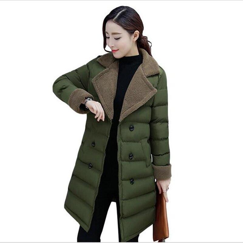 2017 Mujeres del invierno de la chaqueta de Algodón acolchado da vuelta-abajo de