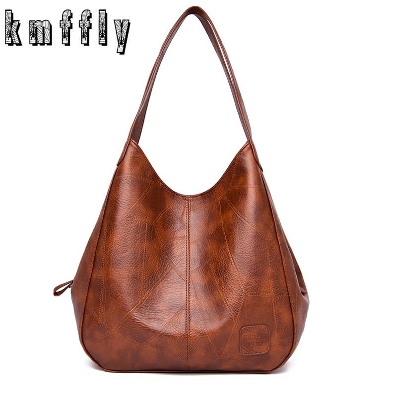 Vintage Women's PU Leather Handbags High Quality Female Hobos Single Shoulder Bags Solid Multi-pocket Ladies Totes Sac a Main