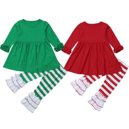2018 Pretty Christmas Kids Girls Lace Ruffles Outfits Solid Long Sleeves Top Dress Striped Cotton Flared Pants 2Pcs Sets 2-7Y