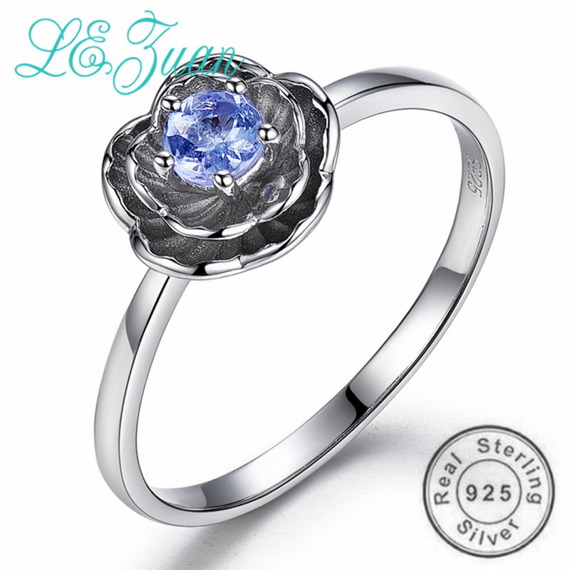 L&zuan 925 Sterling Silver Rings For Girls 0.2Ct Pure Tanzanite Stone Ring Lotus Flower Tremendous Jewellery Feminine Christmas Items