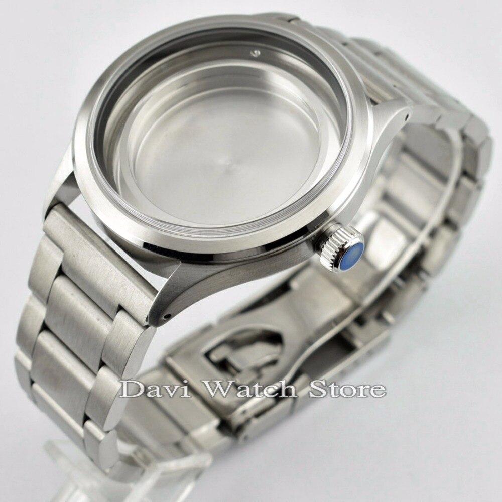 511921a7452 46mm acessórios relógio Rosa de Ouro aço inoxidável assista case fit ...