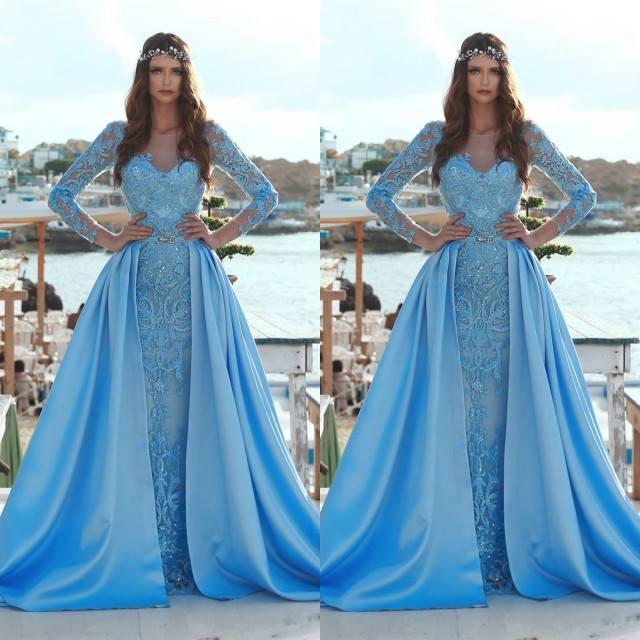 Elegant Lave Appliques Long   Prom     Dresses   2019 Vintage Blue Long Sleeve Evening   Dresses   Detachable Skirt Formal Party   Dresses