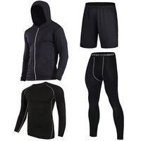 Men S Compression Running Suits FourClothes Sports Set Jackets Shorts And Pants Joggers Gym Fitness Compression