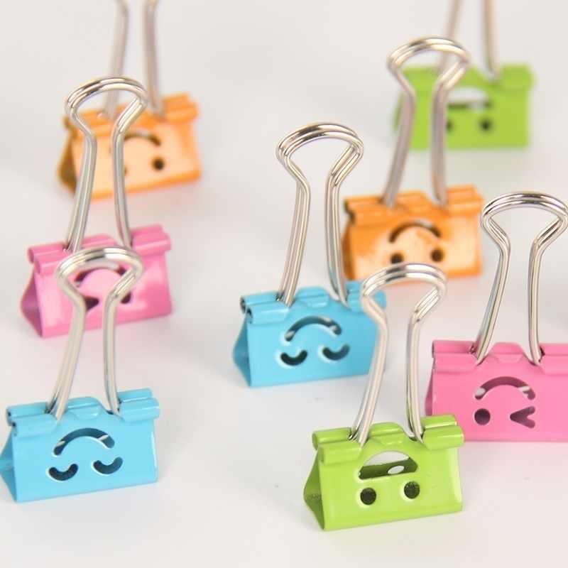10 teile/satz Metall Binder Clips Nette Kawaii Lächeln Mode Süße Tasche Clips Zufall Mixed 19mm Breite Hinweis Clips