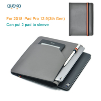 can put 2 pad sleeve pouch cover,microfiber leather tablet sleeve case for 2018 iPad Pro 12.9 (3rd Gen)