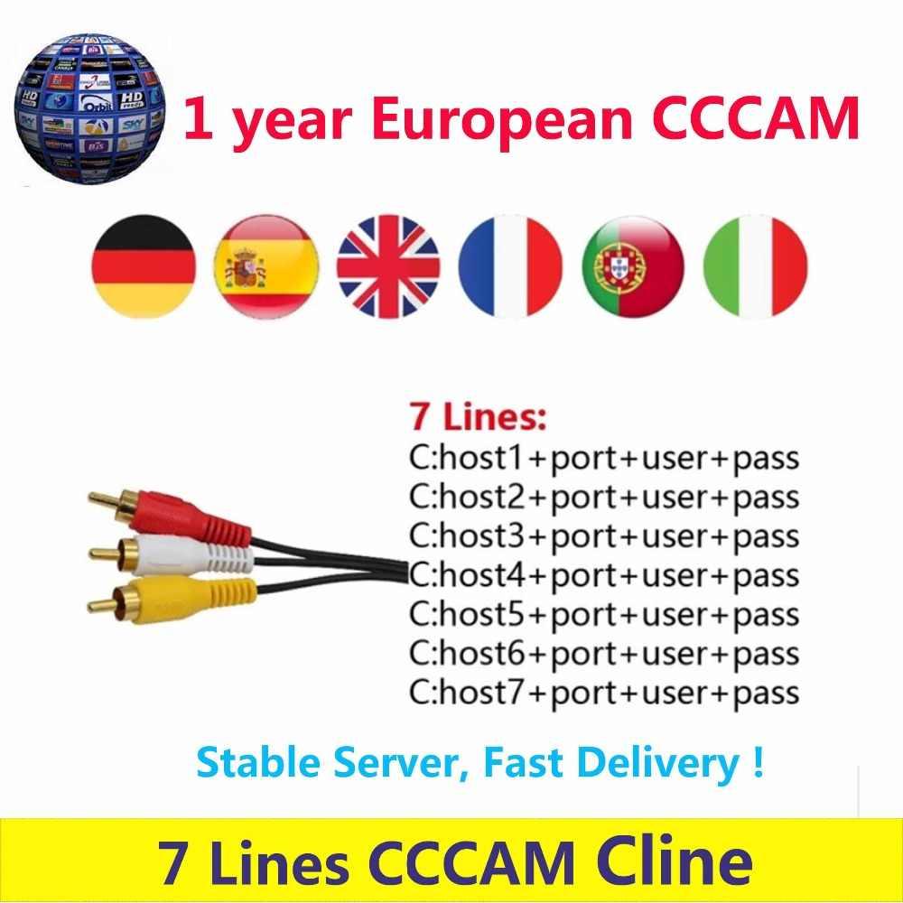 Цифровой HD Европа CCCAM Cline 1 год для спутникового ресивер для cсcam аккаунт Share Sever Испания итальянский, французский Великобритания Германия Португалия