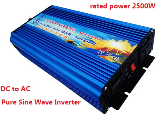 2500W(surge power 5000W) off grid digital display pure sine wave inverter 12V/24V DC input to 220V AC output Power Inverter peak power 5000w inverter 2500w pure sine wave digital display inverter 12v 24v dc to 110v 220v ac for solar