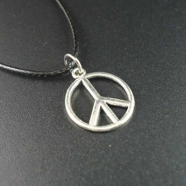 Hot sale collar vintage leather alloy world peace no war small hot sale collar vintage leather alloy world peace no war small pendants necklaces for women 2016 aloadofball Image collections
