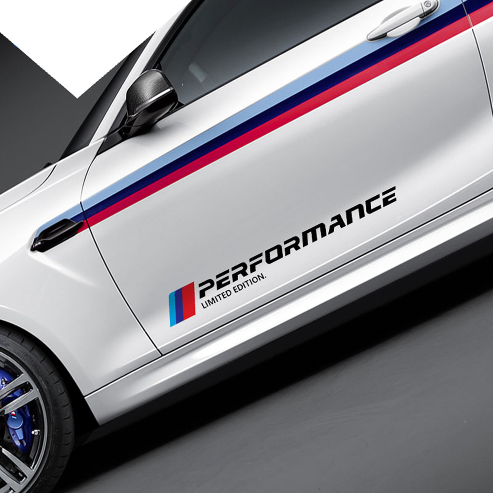 Estilo do carro M desempenho Do Corpo Do Lado Da Porta Decoração Etiqueta Logotipo Do Decalque Para bmw e39 e46 e60 e90 f30 f10 f34 e70 e71 x5 f15 e30