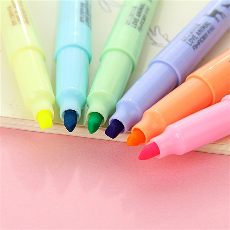 6 different colors stationery fresh and creative highlighter pen highlighter pen color watercolor notebook marker marker pen in Highlighters from Office School Supplies