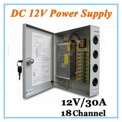 DC12V 30A 18 kanał Adapter do zasilacza dla kamera telewizji przemysłowej system cctv 12V bezpieczeństwa profesjonalne Adapter konwertera