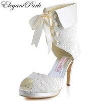 Mujer Botas EP11055-PF Peep Toe Plataforma de Tacón Alto Zapatos de Boda ata Para Arriba blanco marfil novia nupcial del partido de tarde de señora Woman bombas