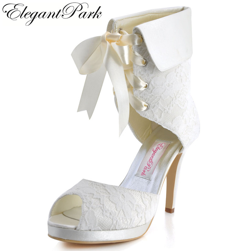 Woman Boots EP11055-PF Peep Toe Platform High Heel Wedding Shoes Lace Up white ivory lady Woman bride bridal evening party pumps shoes woman ep11013 35 white ivory peep toe high heel slip on lace bride women s wedding bridal pumps lady evening party shoes