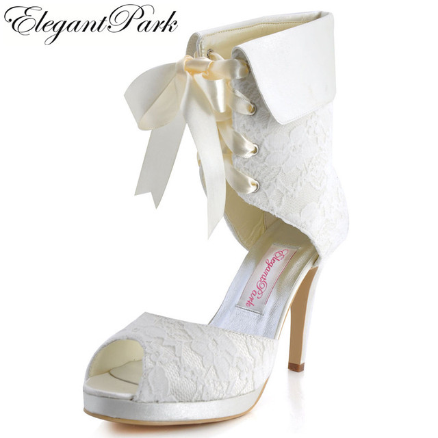 Woman Boots EP11055 PF Peep Toe Platform High Heel Wedding Shoes Lace Up  White Ivory