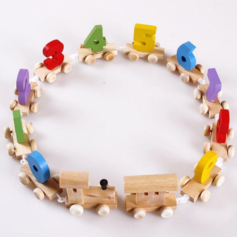 1 компл. деревянный поезд цифровой когнитивных образования детей Конструкторы Игрушечные лошадки раннего обучения детства детские дети игра подарки