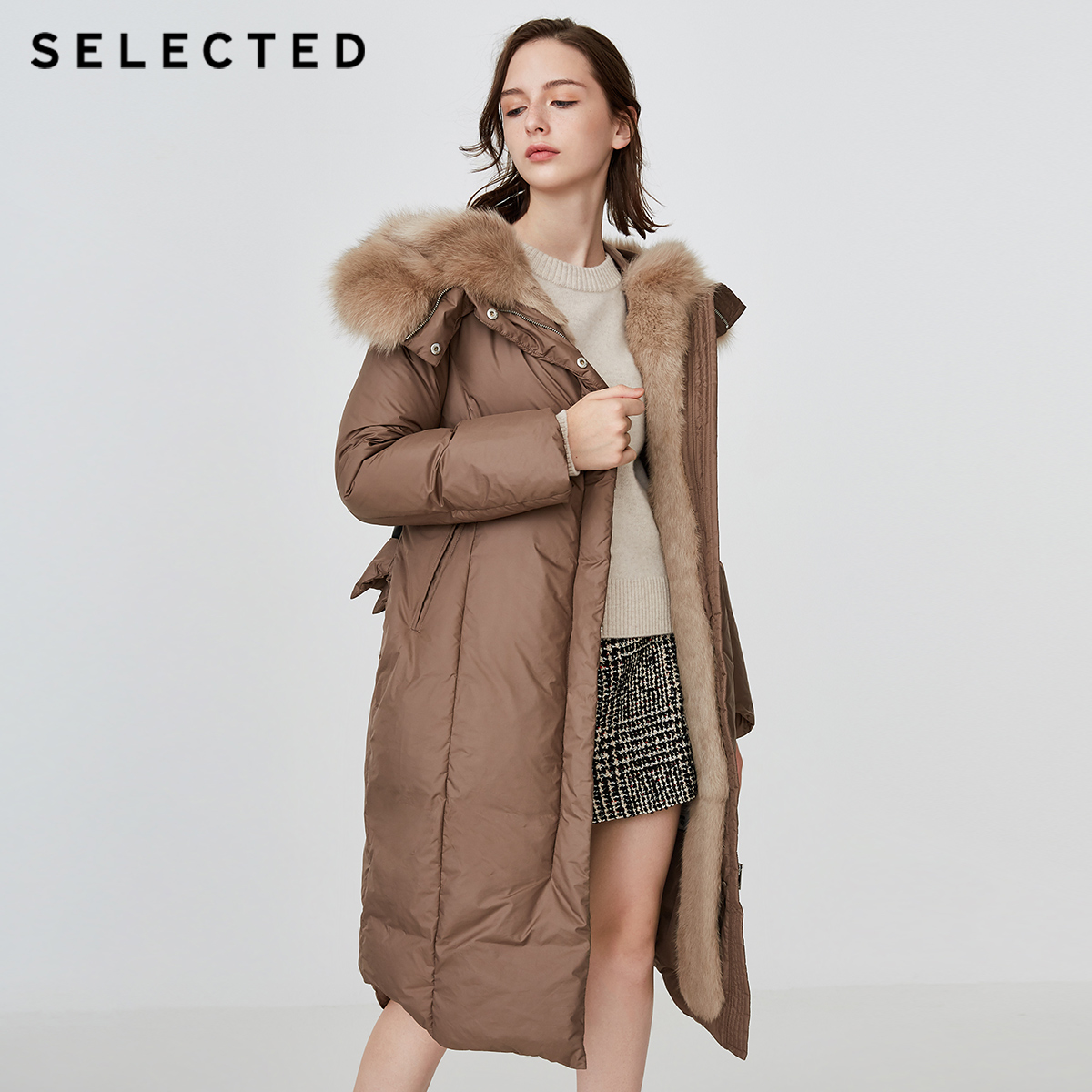 SELECTED Winter New Female Fox Hair Rabbit Hair Hat Mid long Down Suit S 418412545