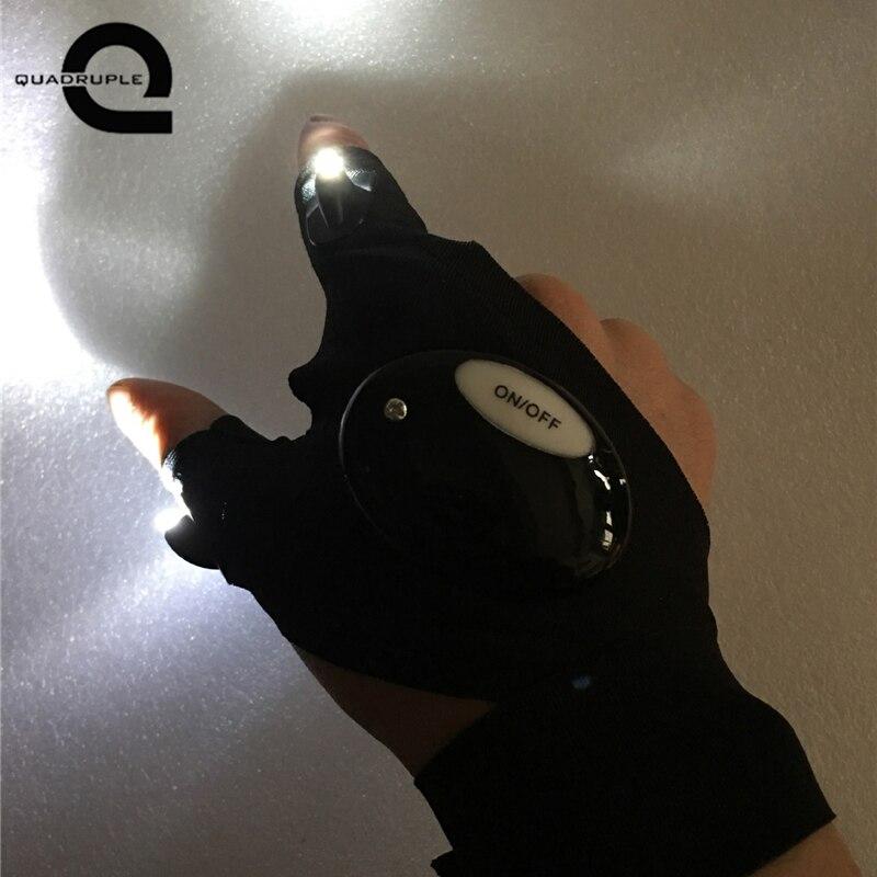 Quadruple Repairing Finger Light LED Glove Flashlight Torch Mini Portable Light Multi-use for Camping Hiking Fishing