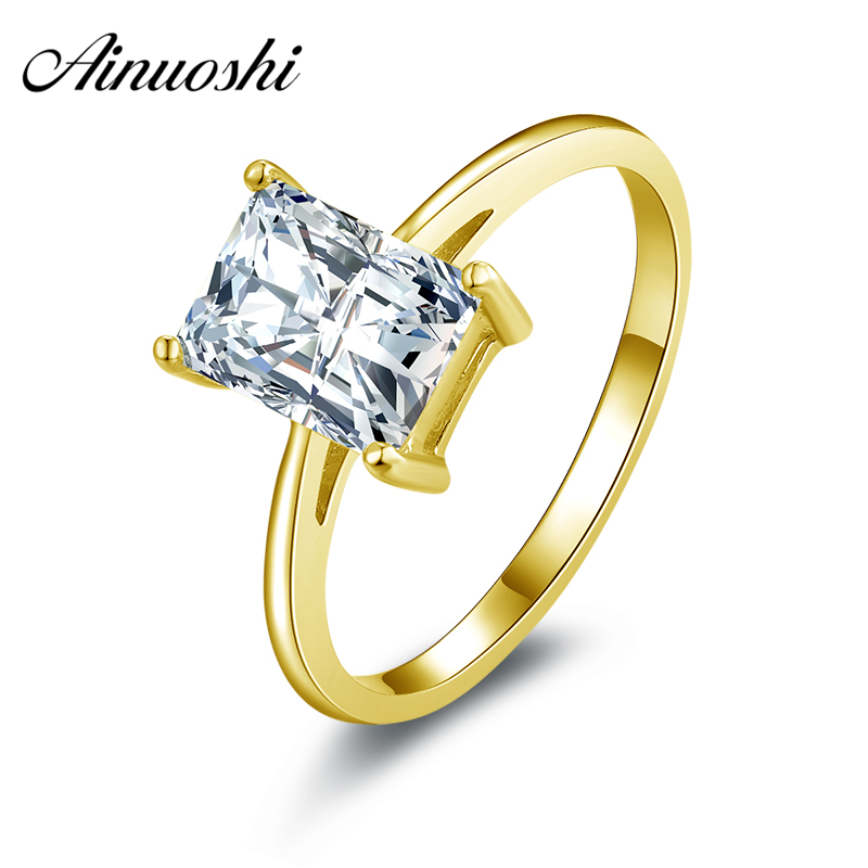 AINUOSHI 1 5 ct Solitaire Ring 14K Solid White or Yellow Gold Wedding Band Rectangle SONA