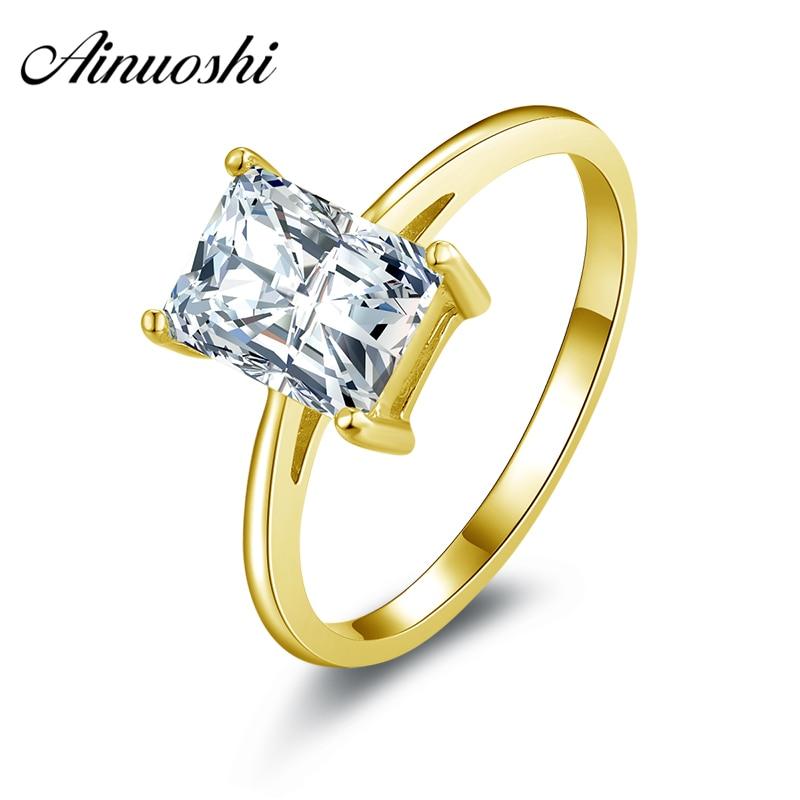 AINUOSHI 1.5 ct ソリティアリング 14 18k ソリッドホワイトまたはイエローゴールドウェディングバンド長方形 SONA ダイヤモンドの女性の婚約リング  グループ上の ジュエリー & アクセサリー からの 指輪 の中 1