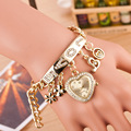 Gold Fashion Luxury Heart-shaped Flower Pendant Love Diamond Bangle Bracelet Wristwatches Watch Reloj for Women Ladies Female