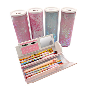 Image 2 - Areia movediça translúcida criativo multifuncional cilíndrico ipen caixa de lápis caso papelaria caneta titular 2020 newmebox rosa azul estrela