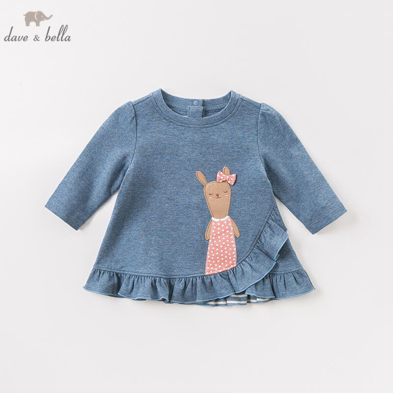 DBM8179 dave bella autumn baby long sleeve dress girls print lovely dress children party birthday high quality clothing