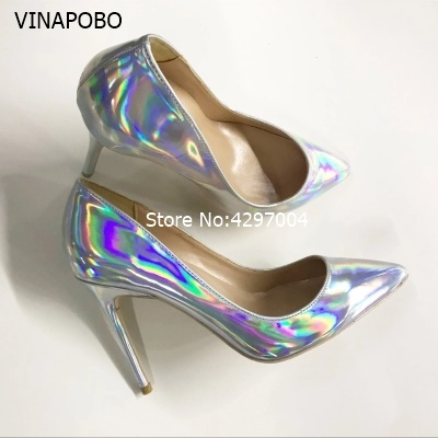 2018 New Style Women party wedding Pumps Elegant Pointed Toe Thin High Heels Pumps Fashion Sliver