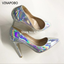 где купить 2018 New Style Women party wedding Pumps Elegant Pointed Toe Thin High Heels Pumps Fashion Sliver Shoes Woman Plus Size 43 дешево