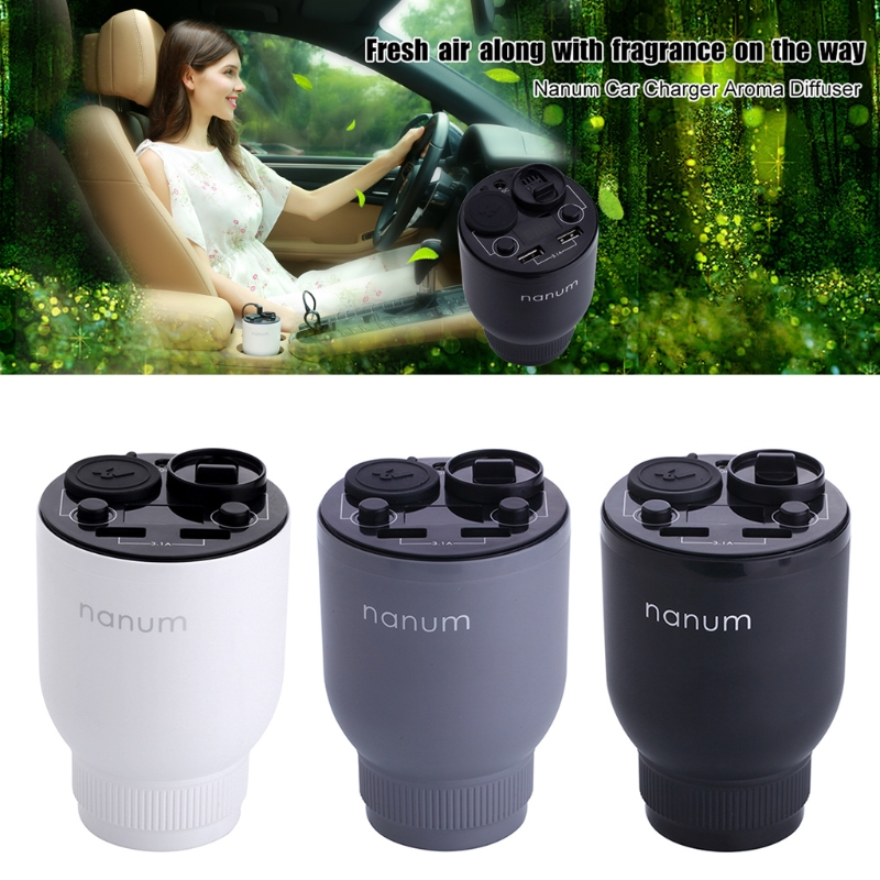 Car Charger Aroma Diffuser Fragrance Cup Holder Cars Cigarette Lighter Dual USB