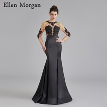 Long Sleeve Backless Prom Dresses for African Black Girls with Lace  Appliques Sexy See Through Special Occasion Party Gowns 2018 995a6de8b9c8