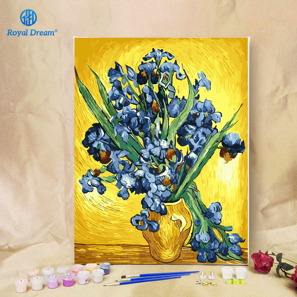 Worldwide Famous Oil Painting Irises by Van Gogh 16X20 inch DIY Oil Painting By Numbers Home Decor Digital Painting