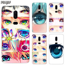 Charming Beautiful Eyes Luxury Soft TPU Silicone Phone Back Case For OnePlus 5 5T 6T 6 Frosted Fundas Printed Cover