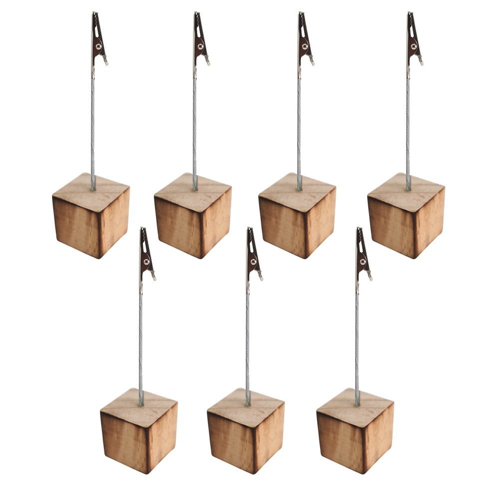 HOT-Memo Clip Holder Stand Picture Card Note Clip Stand 7pcs Wood Color