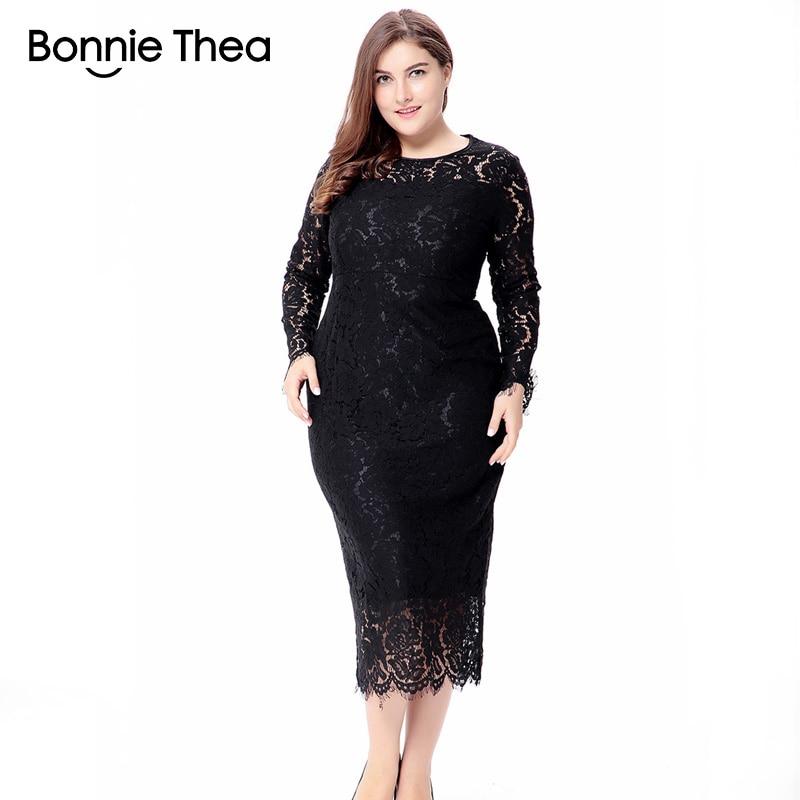 7b2baf6f4af women black white red plus size lace dress autumn Elegant 6XL large size  bodycon