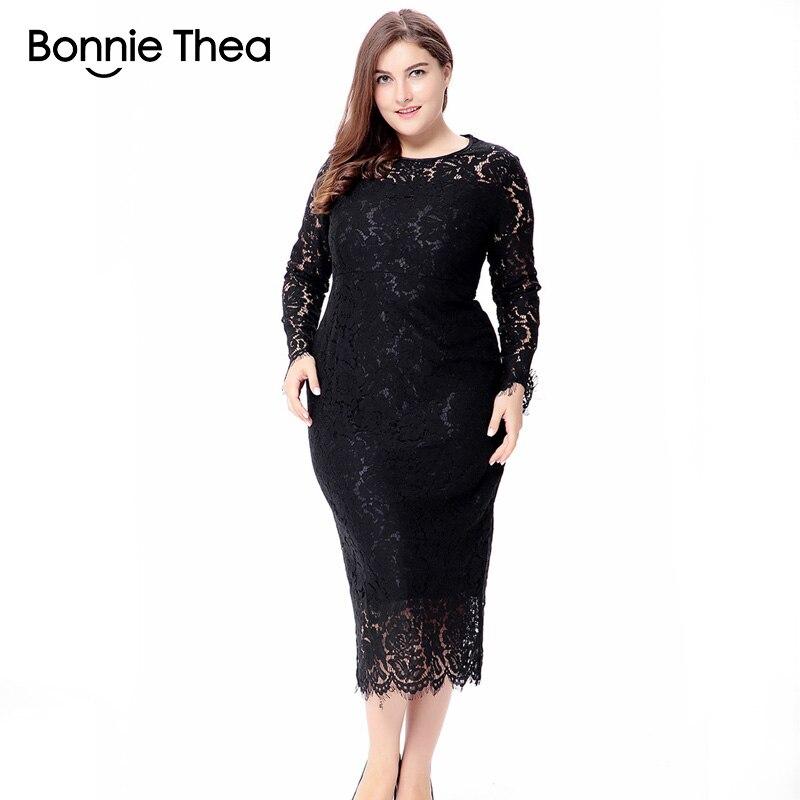 4bdc8ce60919 Mujeres negro/blanco/rojo talla grande vestido de encaje otoño elegante 6XL  talla grande bodycon ...