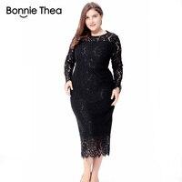 women black/white/red plus size lace dress autumn Elegant 6XL large size bodycon Sexy midi dress party Big Size dresses vestidos