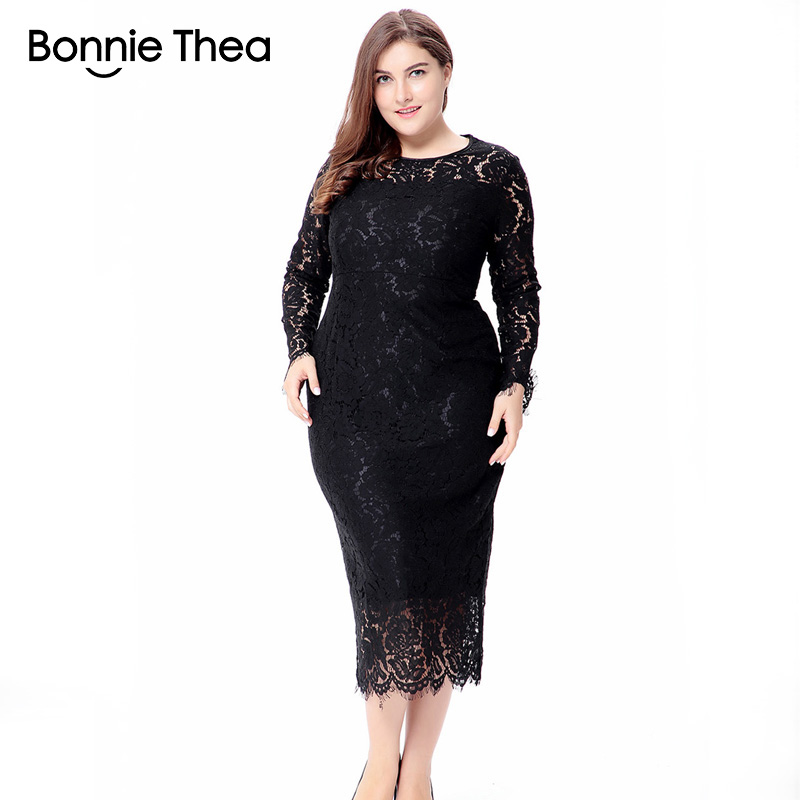 women black/white/red plus size lace <font><b>dress</b></font> autumn Elegant <font><b>6XL</b></font> large size bodycon <font><b>Sexy</b></font> midi <font><b>dress</b></font> party Big Size <font><b>dresses</b></font> vestidos image