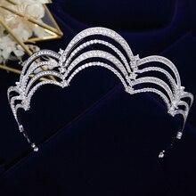 Bavoen kraliyet kraliçe kübik zirkon düğün taçlar Tiaras kristal akşam Hairbands gelinler saç aksesuarları balo takı