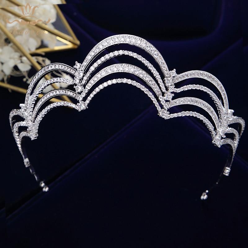 Bavoen серебряные королевские Королевские Свадебные короны из  кубического циркония, диадемы с кристаллами, вечерние повязки для волос,  аксессуары для волос невесты, ювелирные изделия для выпускного  вечераУкрашения для волос