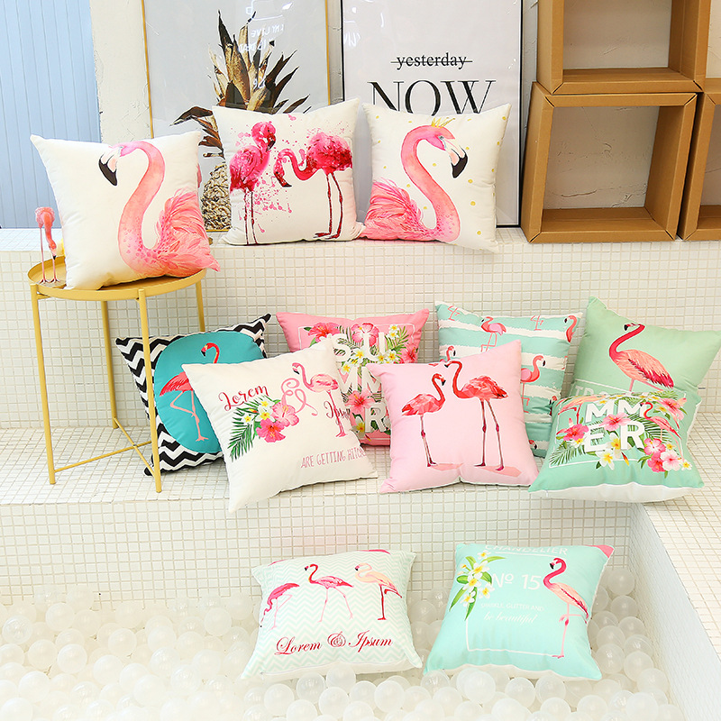 Cute Flamingo Cushion Pillow Case Flamingo Party Bedroom Sofa Home Decoration accessories Birthday/Wedding Favors and Gifts 1