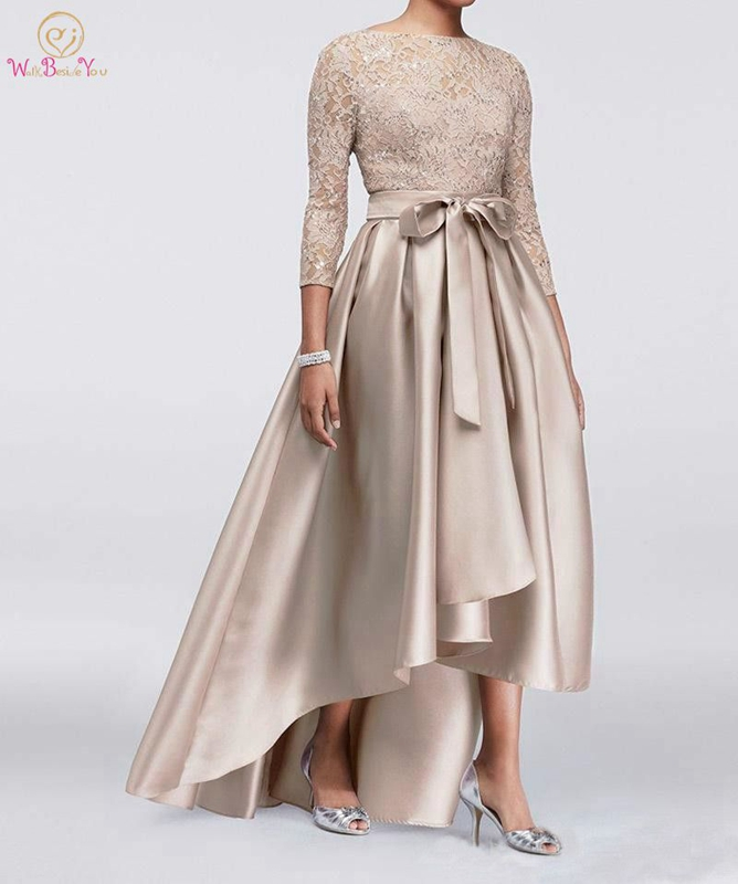 Champagne Evening Dress 2019 Illusion Lace Reflective Satin Asymmetrical Short Front Long Back Formal  Celebrity Prom Gown