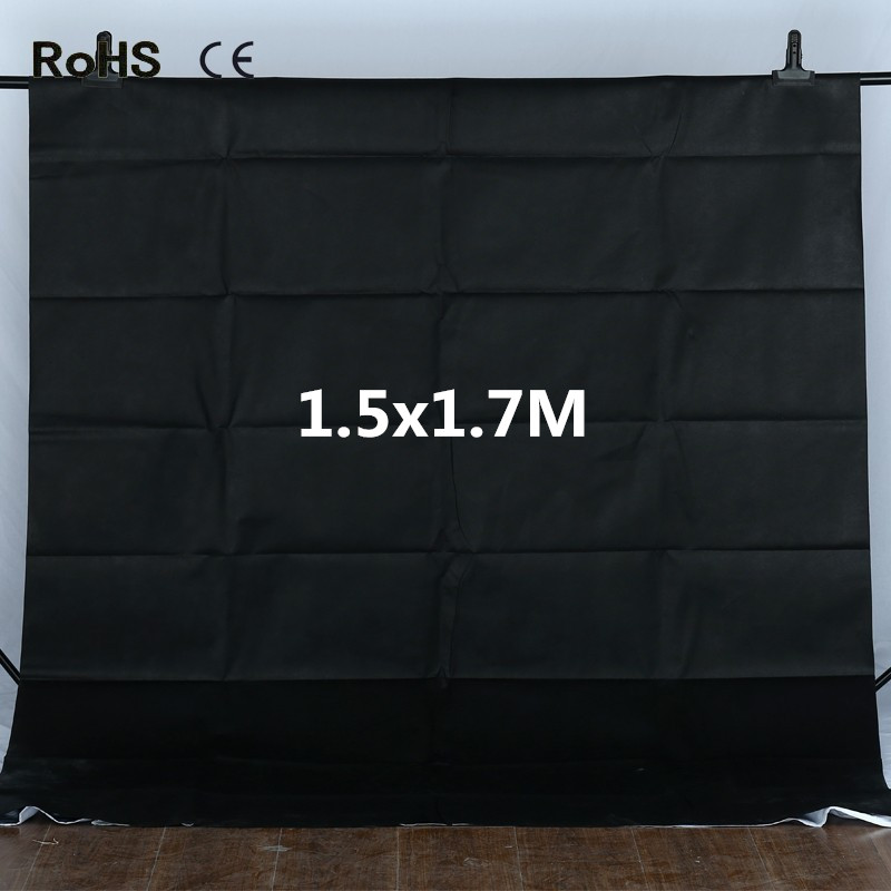Photo Studio 1.5x1.7m Black Non-woven Fabrics Backdrop Photography Studio Backgrounds Backdrop Fotografia Photo Background supon 6 color options screen chroma key 3 x 5m background backdrop cloth for studio photo lighting non woven fabrics backdrop