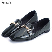 MYLEY Ladies Platform Oxfords Brogue Flats Shoes Leather Slip On Pointed Toe Shoes Female Casual Black