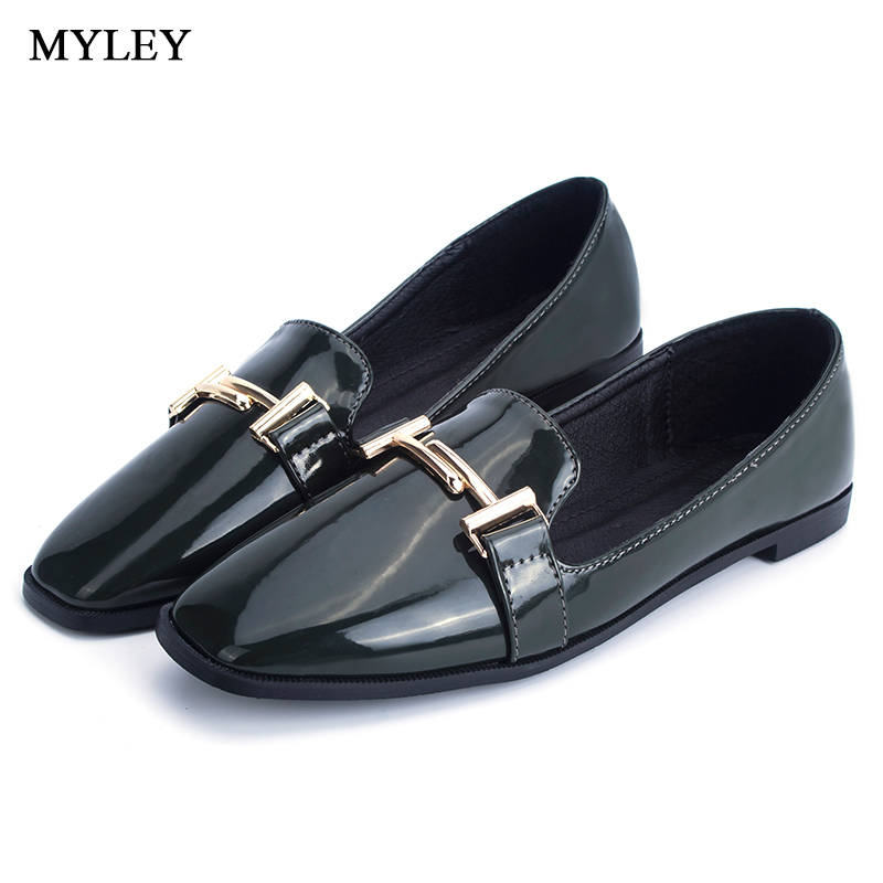 MYLEY Ladies Platform Oxfords Brogue Flats Shoes Leather Slip-on Pointed Toe Shoes Female Casual Black Green Gray Footwear cresfimix women cute spring summer slip on flat shoes with pearl female casual street flats lady fashion pointed toe shoes