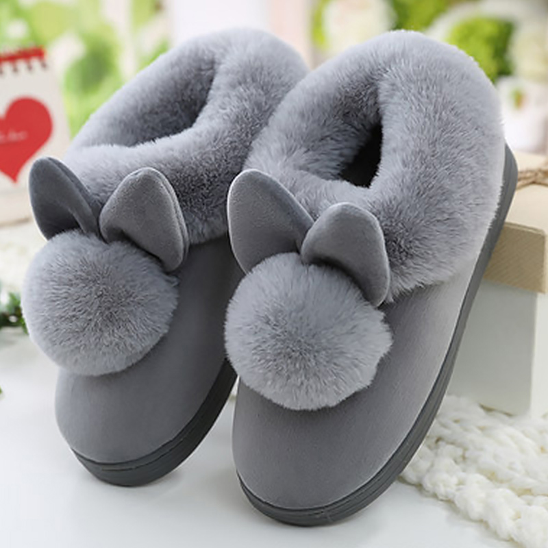 Women Rabbit Furry Home Winter Slippers Plus Size Female Flat Warm Indoor Plush Slip On Comfortable Shoes Ladies Footwear brand women flats shoes real rabbit fur slippers plus size winter autumn warm female flat heel slip shoes casual home slippers30